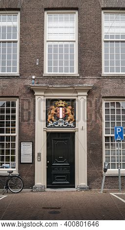 Gouda, Netherlands, November 2018 - Ornately Decorated Door With The Gouda Coat Of Arms, In The City