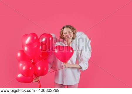 Valentines Day Cupid. Angel Woman With Balloons. Cupid In Valentine Day. Woman Cupid. Valentine Day.