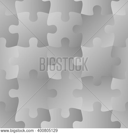 Grey Jigsaw. Seamless Puzzle Pattern. Autism Background. World Autism Awareness Day. Jigsaw Design T