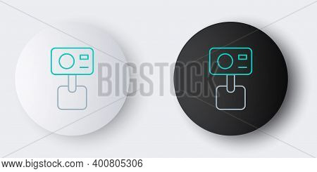 Line Action Extreme Camera Icon Isolated On Grey Background. Video Camera Equipment For Filming Extr