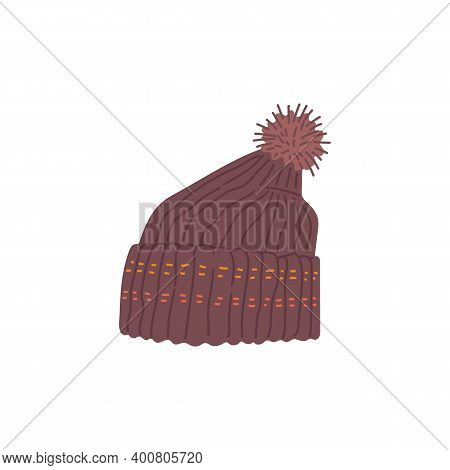 Warm Brown Winter Hat With Pom Pom Ball On Top, Isolated Drawing