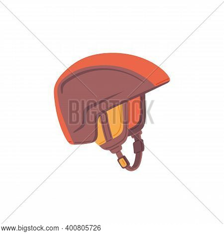 Helmet For Winter Sports And Alpine Skiing, Flat Vector Illustration Isolated.