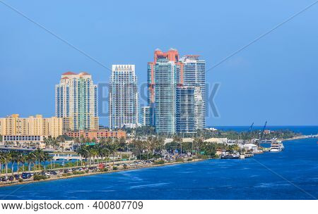 Miami, Florida-July 3,2017: Miami city is a major tourism hub for international visitors, ranking second in the country after New York City