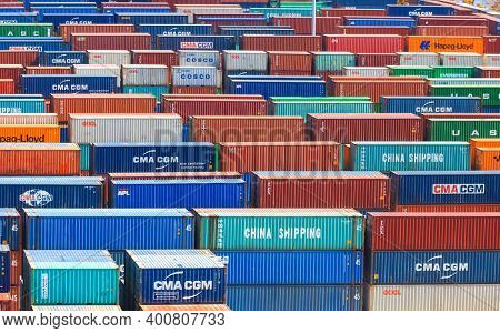Miami,Florida-July 3,2017: Container terminal at Port of Miami is one of the largest cargo ports in the United states of America