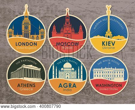Set Of Stickers With The Sights Of The Capitals Of Various Countries. Vector Illustration On The The