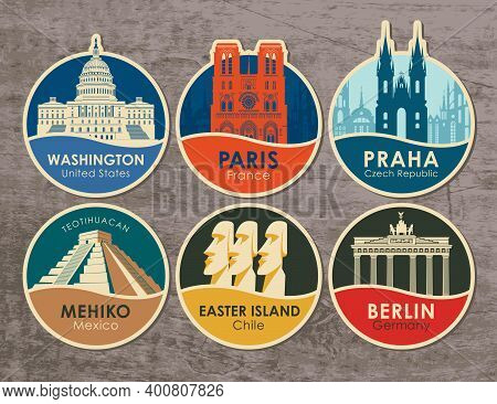 Set Of Stickers With The Sights Of The Capitals Of Various Countries. Vector Illustration On Travel
