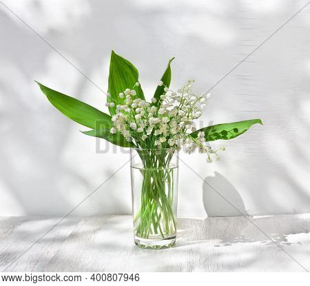 Bouquet White Flowers Lily Of The Valley In Glass ( Convallaria Majalis, May Bells, May-lily ) On A