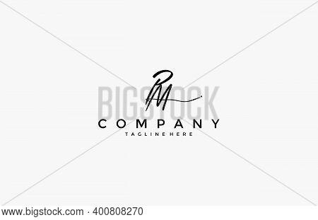 Calligraphy Signature Initial Letter Pm Logotype Design