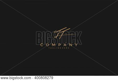 Calligraphy Signature Initial Letter Tt Logotype Design Vector