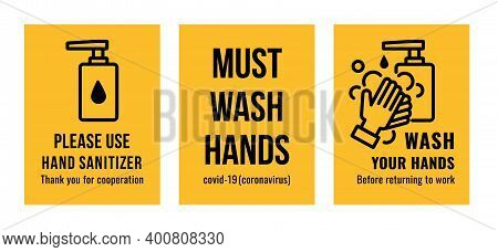 Set Of Hand Washing Sign Such As Hand Sanitizer, Must Wash Hands And Wash Your Hands. Vector Image.