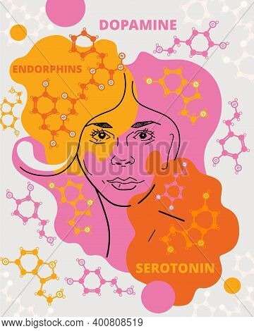 Female Face And Of The Structures Of Neurotransmitters, Serotonin, Dopamine And Endorphins. Vector A