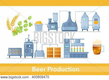 Beer Production Process In Brewery Infographic Process, Beverage Industry Technology