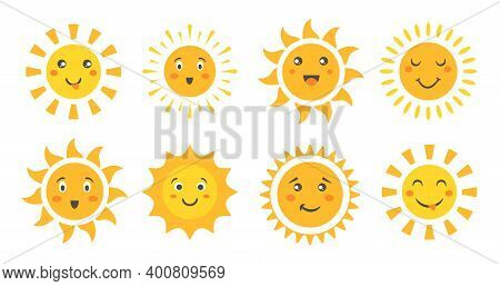Cute Sun Set, Cartoon Sun Emoticon Characters Collection, Sunny Faces With Happy Emotions