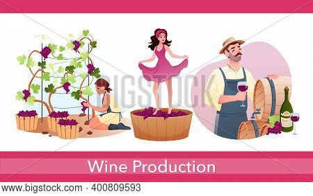 Wine Production In Traditional Winery Set With Characters Produce Natural Alcohol Drink