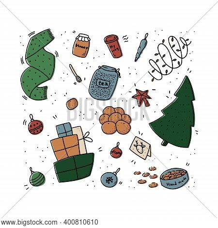 Set Of Christmas Illustrations In Doodle Style. Vector Isolated Illustration On White Background.