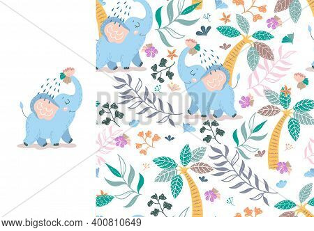 Baby Elephant Pouring Itself Water From Trunk With Floral Backdrop. Alphabetical Kids Card Print Tem