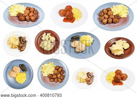 Set Of Various Dishes With Mashed Potato As Side Dish On Plate Isolated On White Background
