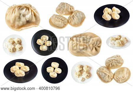 Set Of Cooked Manti (type Of Dumpling In Turkic Cuisine) On Isolated On White Background
