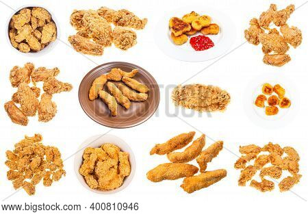 Set Of Various Deep Fried Chicken Pieces (nuggets, Strips, Wings, Etc) Isolated On White Background