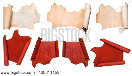 Set Of Rolled Pieces Of Leathers Isolated On White Background