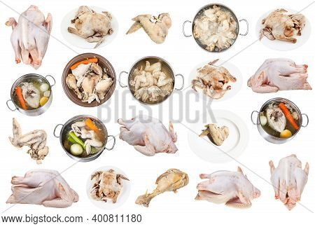 Collection Of Raw And Boiled Chicken Meat Isolated On White Background