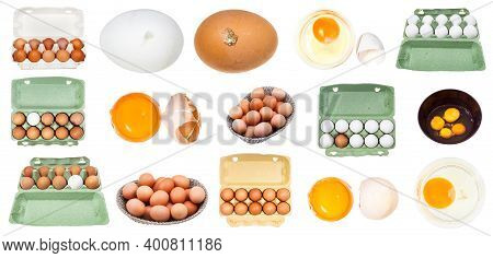 Collection Of Various Raw Chicken Eggs Isolated On White Background