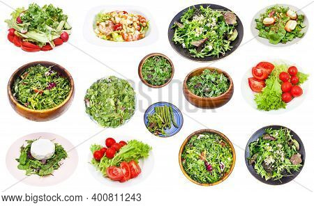 Collection Of Various Fresh Salad From Leaf Vegetables Isolated On White Background