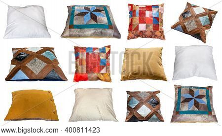 Set Of Various Handmade Pillows Isolated On White Background
