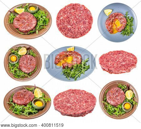 Set Of Cooked Steak Tartare (raw Minced Beef Meat And Raw Yolk In Bowl On Fresh Greens) Isolated On