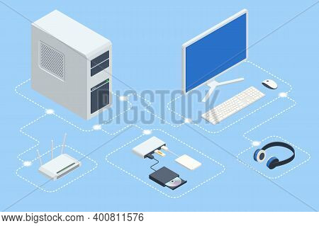 Isometric Digital Devices. Home Computer Network. Home Wifi Network. Internet Via Router On Computer