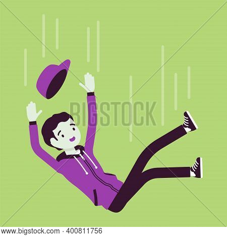 Falling Down Unsuccessful Young Man, Making Mistake, Failure. Guy In Unfortunate Incident, Not Achie