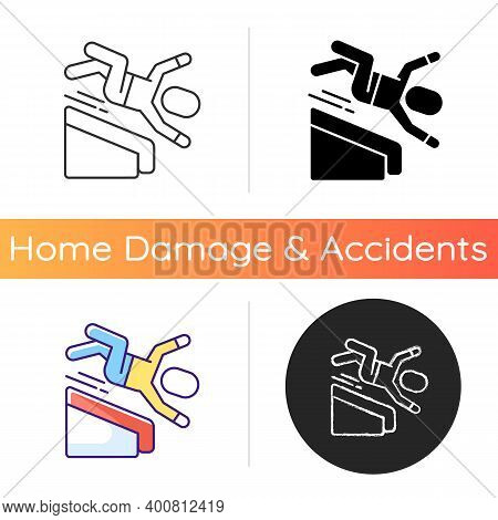 Falling From Height Icon. Fall Risks. Home Accidents. Slippery Wet Surfaces. Basement Stairway. Fall