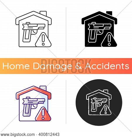 Weapons Storage Icon. Home Defense. Safe Gun Storage. Preventing Unauthorized Access To Firearms. De