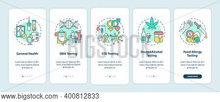 Top Testing Categories Onboarding Mobile App Page Screen With Concepts. General Health, Std Testing