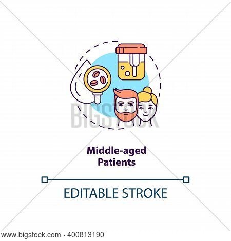 Middle-aged Patients Concept Icon. Health Screening Age Group Idea Thin Line Illustration. Monitorin