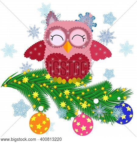 Lovely Cartoon Owl Tangled In A Garland Of Glowing Light Bulbs On A Spruce Branch Decorated With Bal