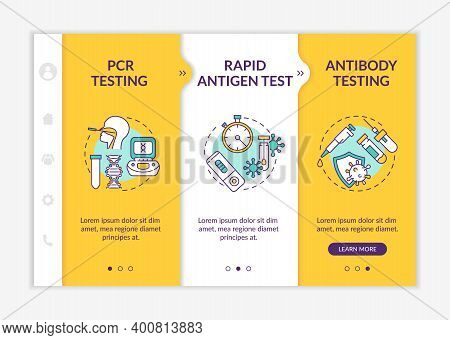 Coronavirus Testing Types Onboarding Vector Template. Rapid Antigen Test. Checking For Antibodies In