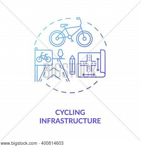 Cycling Infrastructure Blue Gradient Concept Icon. Public Commuting Planning. Scheme For Urban Trans