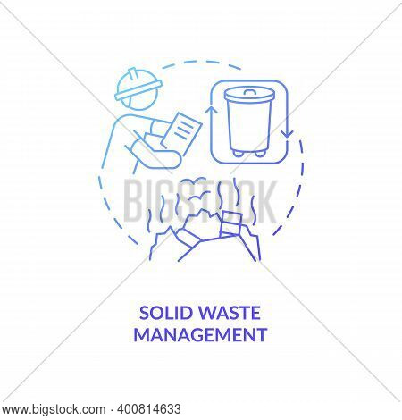 Solid Waste Management Blue Gradient Concept Icon. Recycling Garbage. Environmental Regulation. Civi