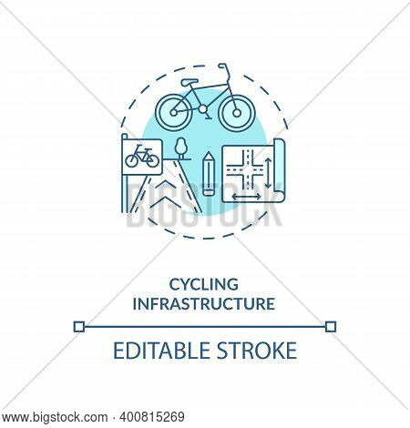 Cycling Infrastructure Blue Concept Icon. Public Commuting Planning. Scheme For Transport. Civil Eng