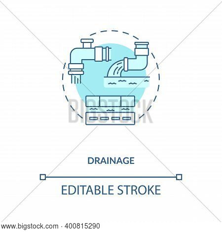 Drainage Blue Concept Icon. Sewage Utility System. Sewer Pipeline. Water Waste Management. Civil Eng