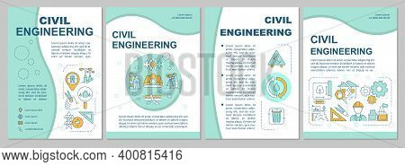 Civil Engineering Brochure Template. Infrastructure Services. Flyer, Booklet, Leaflet Print, Cover D