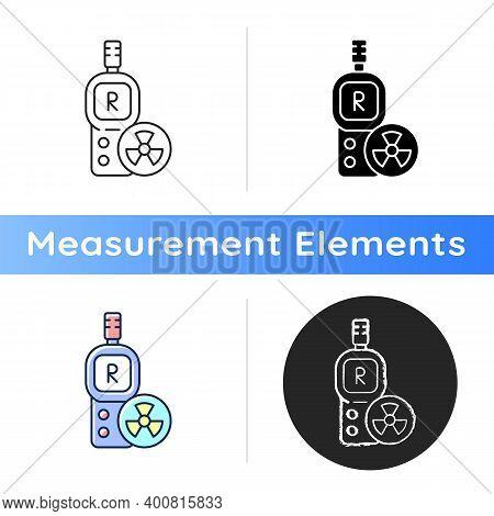 Radiation Dosimeter Icon. Geiger Counter. Measuring External Ionizing Radiation Dose Uptake. Radioac