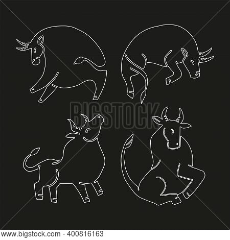 Set Of Bulls. Linaer Illustration. Stylized Silhouettes Of Bulls, Standing In Different Poses. Isola