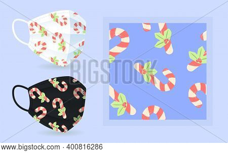 Candy Cane On Face Mask Mockup With Modern Abstract Seamless Pattern. Candycane With Holly. Vector I