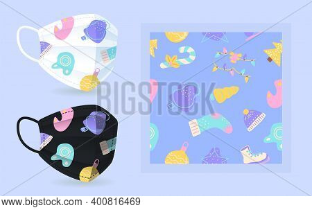 Noel Face Mask Mockup With Modern Abstract Seamless Pattern. Blue, Pink, Yellow Christmas Ornament.
