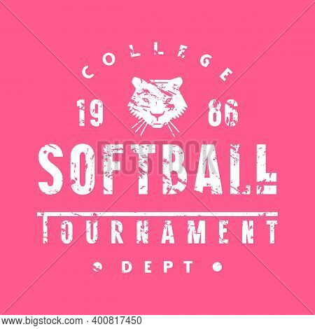 Emblem Of Softball College Tournament. Graphic Design With Vintage Texture For T-shirt. White Print
