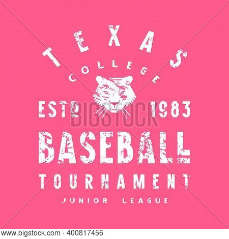 Emblem Of Softball College Tournament In Texas. Graphic Design With Vintage Texture For T-shirt. Whi