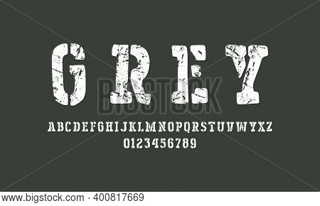 Stencil-plate Serif Font In The Style Of Handmade Graphic. Letters And Numbers With Rough Texture Fo