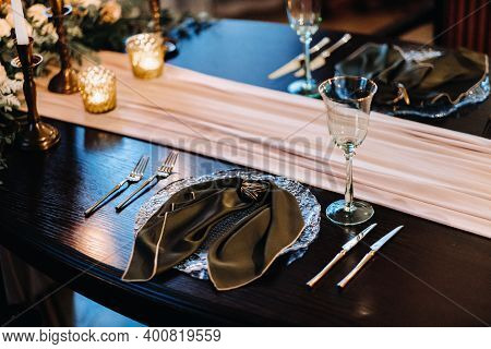 Wedding Table Decoration On The Table In The Castle, Cutlery On The Table